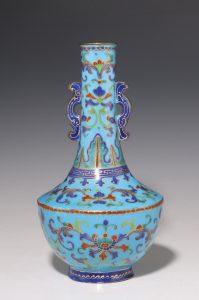 Chinese Canton Enamel Turquoise Ground Vase 18thC