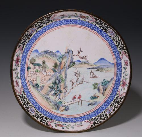 Chinese Canton Enamel Dish 18thC