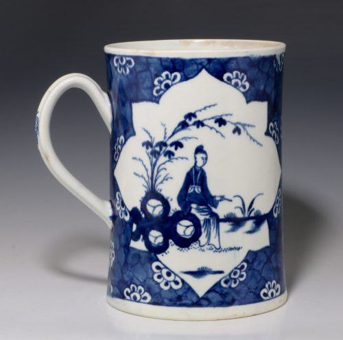 Worcester Cracked Ice Ground Blue and White Tankard C1768