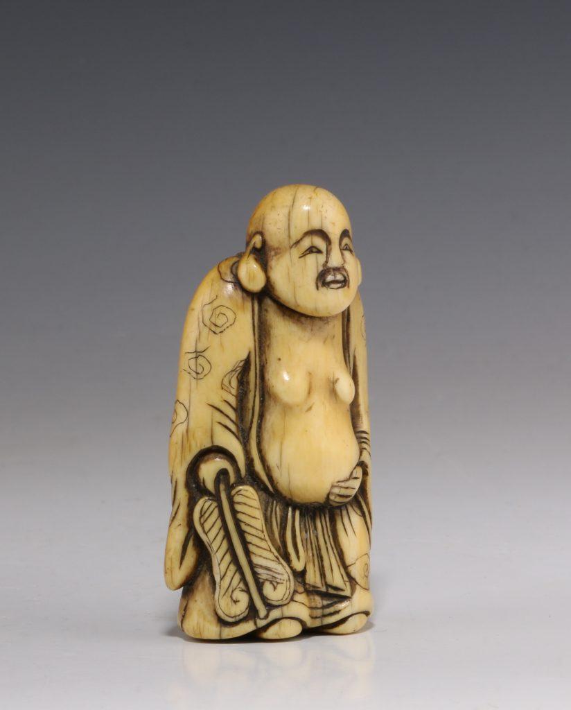 Japanese Ivory Netsuke of Hotei 18/19thC 2