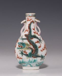 Chinese Polychrome Porcelain Snuff Bottle 19thC