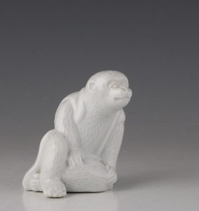 Japanese Hirado Figure of a Monkey 19thC