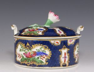 Worcester Blue Scale Butter Tub and Cover C1770