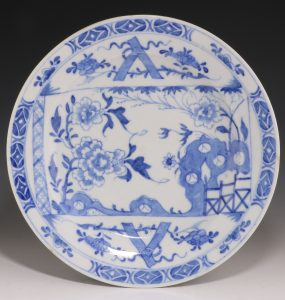 Bow Blue and White Plate C1752