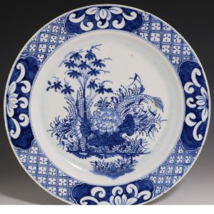 Bow Blue and White Plate C1760