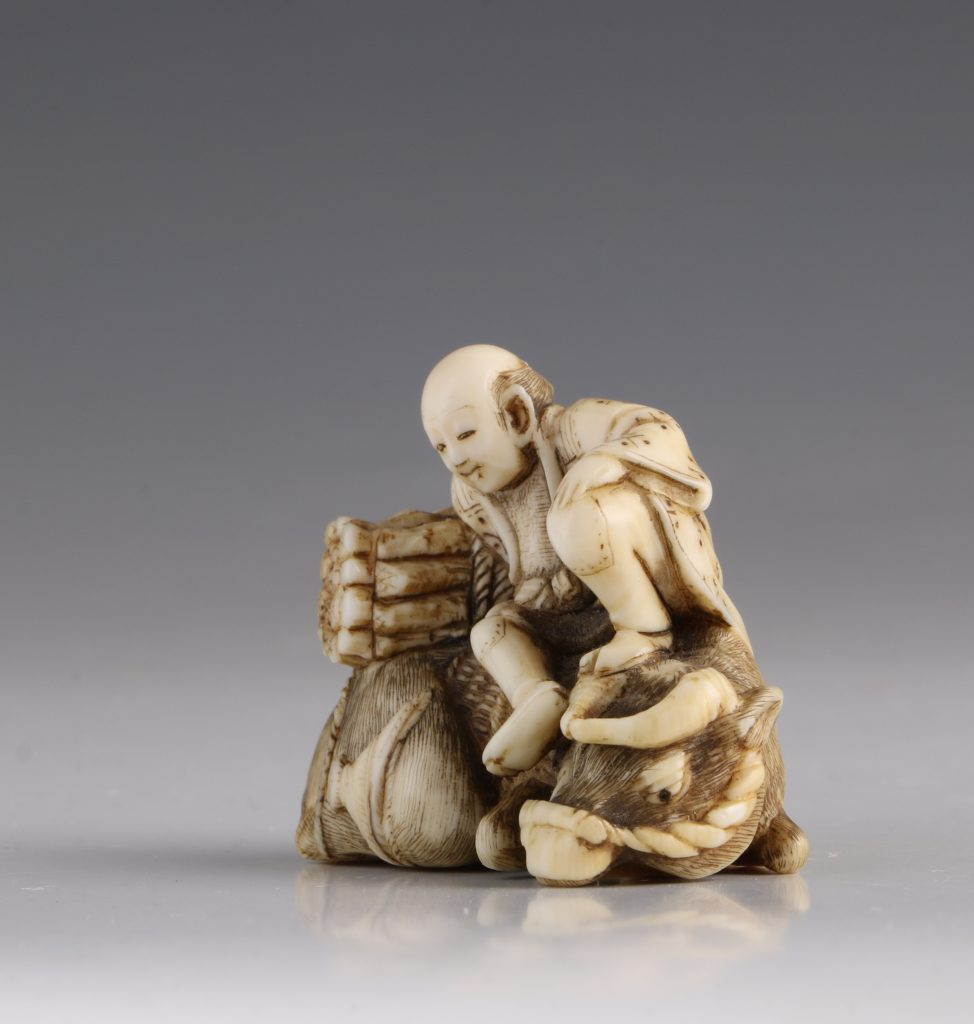Japanese Ivory Netsuke of a Woodcutter and his Buffalo 19thC 2