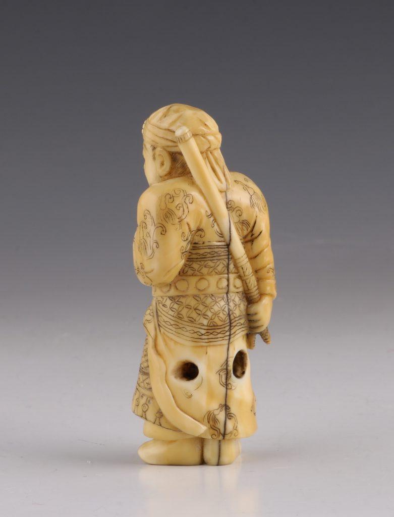 Japanese Boars Tusk  Netsuke of Kan'u 19thC 4