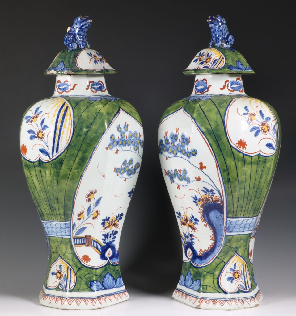 Pair of Dutch Green Ground Delft Vases 18thC 1