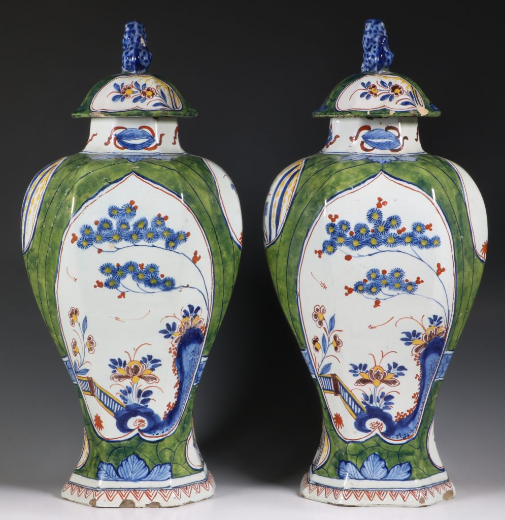 Pair of Dutch Green Ground Delft Vases 18thC 3