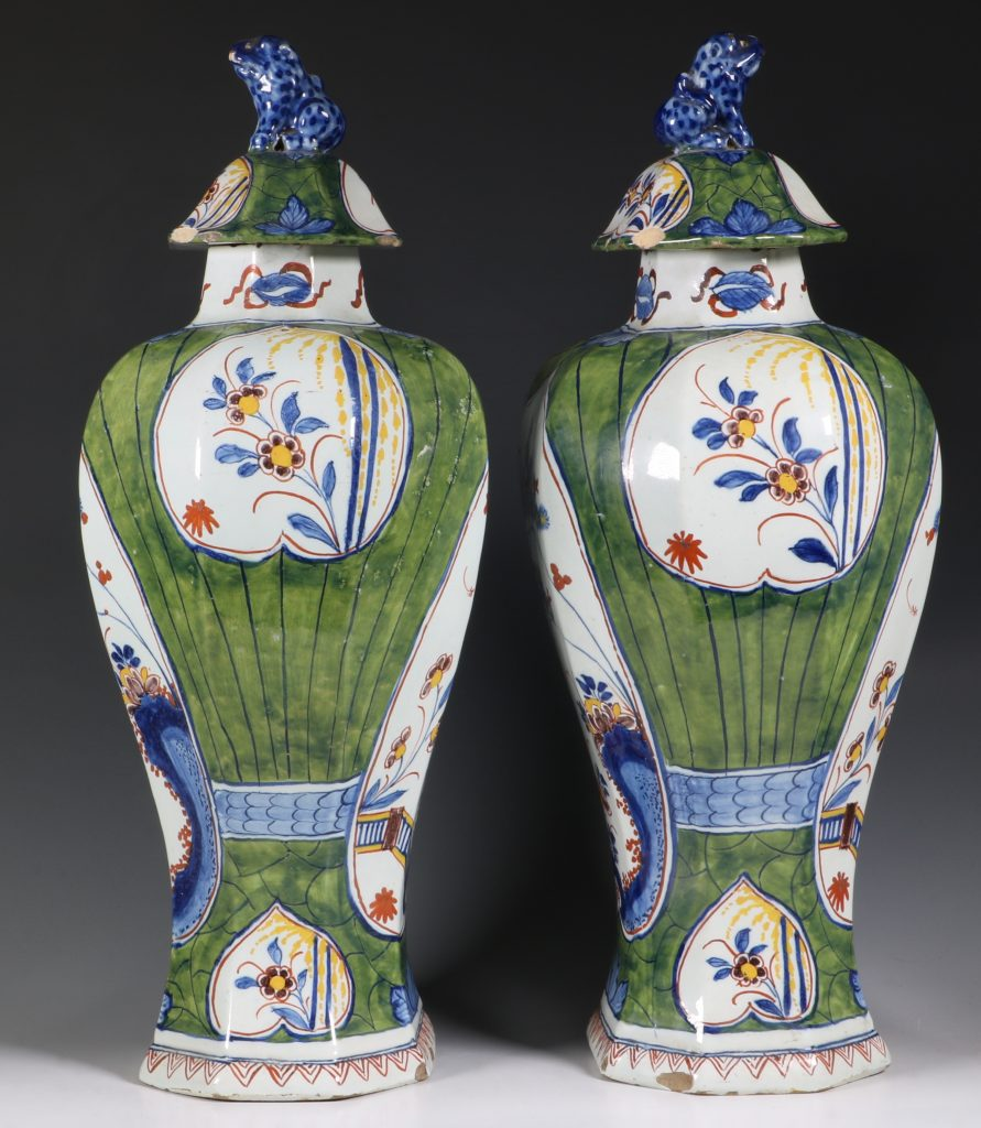 Pair of Dutch Green Ground Delft Vases 18thC 4
