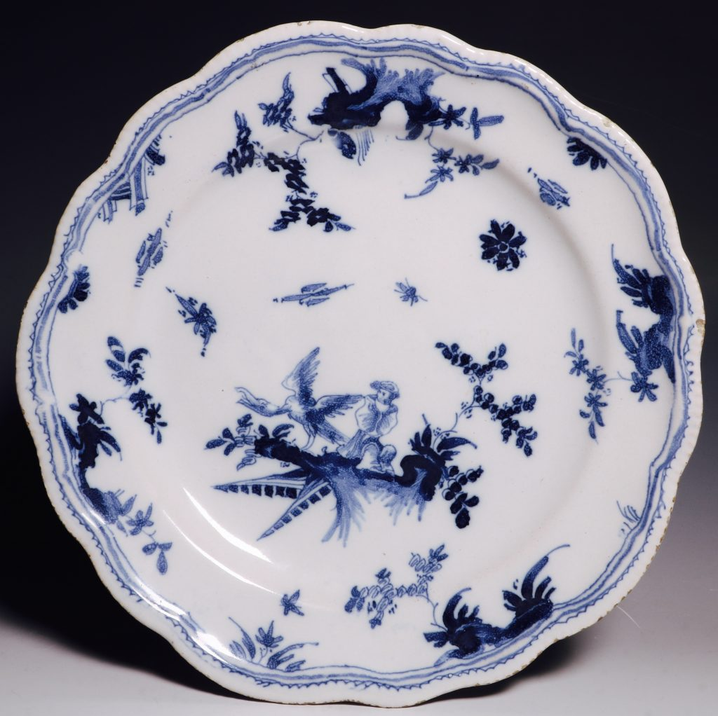 A French Faience Blue and White Dish Mid 18thC