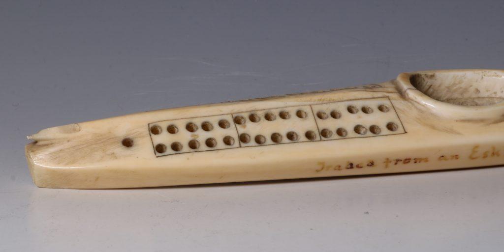 Eskimo Marine Ivory Cribbage Board 19/20thC 6