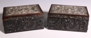 Pair of Wood Boxes Mounted with Straits Chinese Silver Pillow Ends L19thC