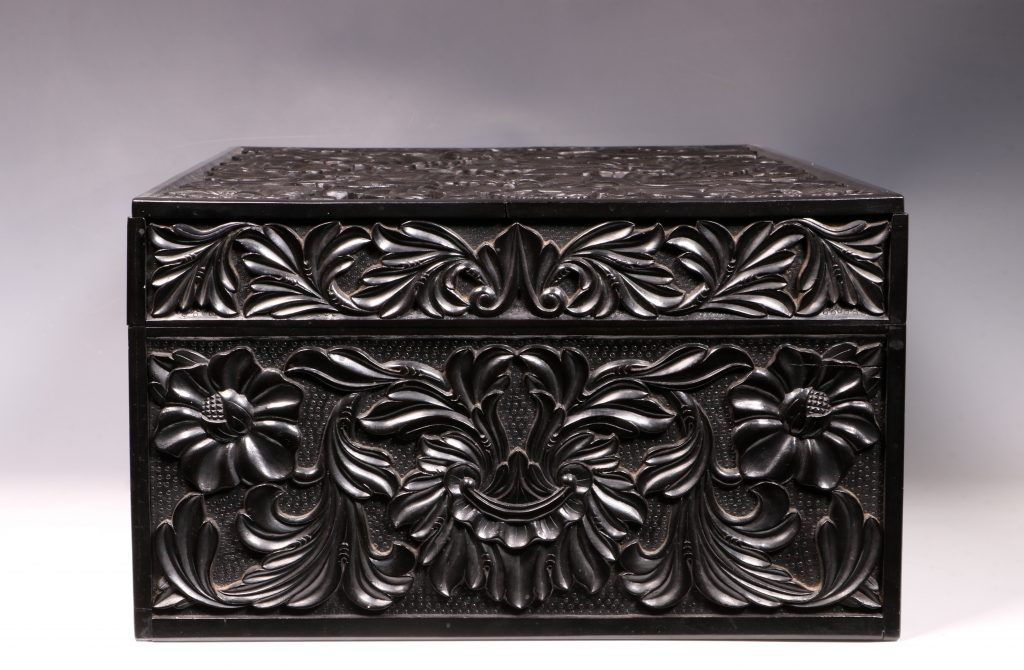 Carved Ebony Box Sri Lanka C1840/50 2