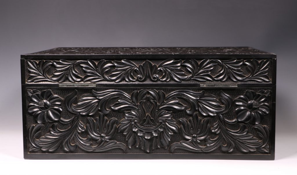 Carved Ebony Box Sri Lanka C1840/50 3