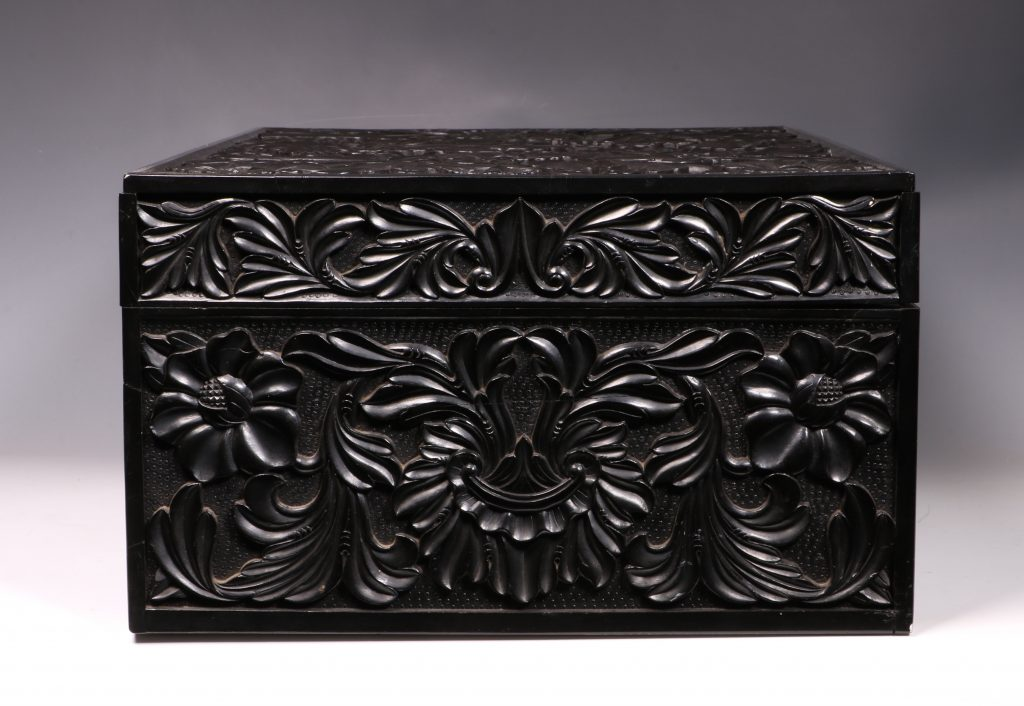 Carved Ebony Box Sri Lanka C1840/50 5