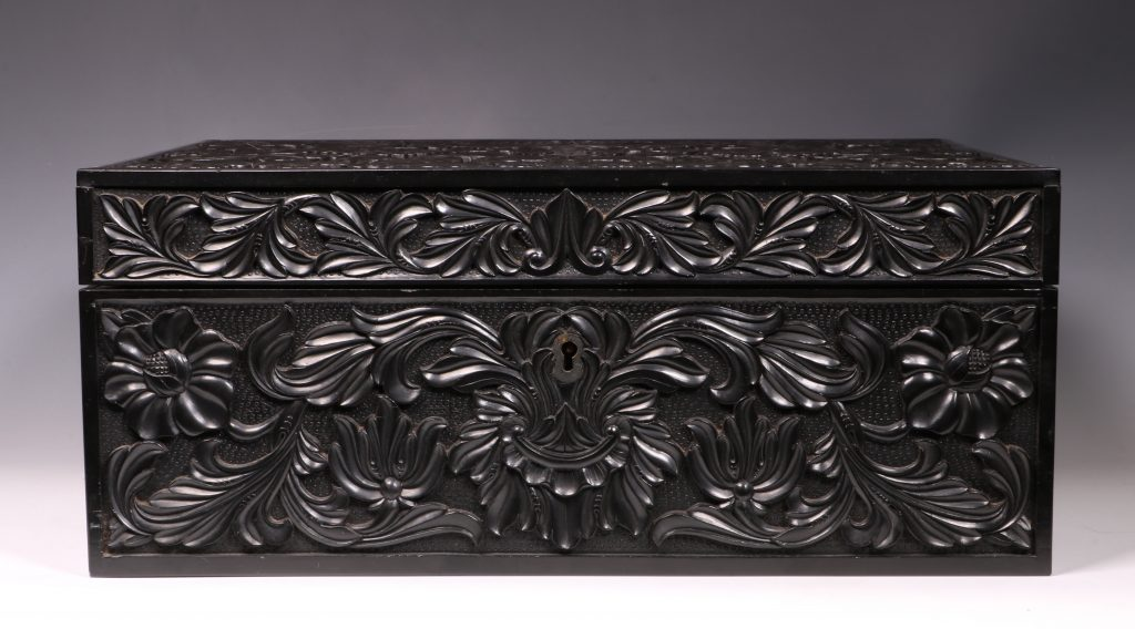Carved Ebony Box Sri Lanka C1840/50 1