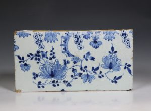 Large English Delft Flower Brick C1750