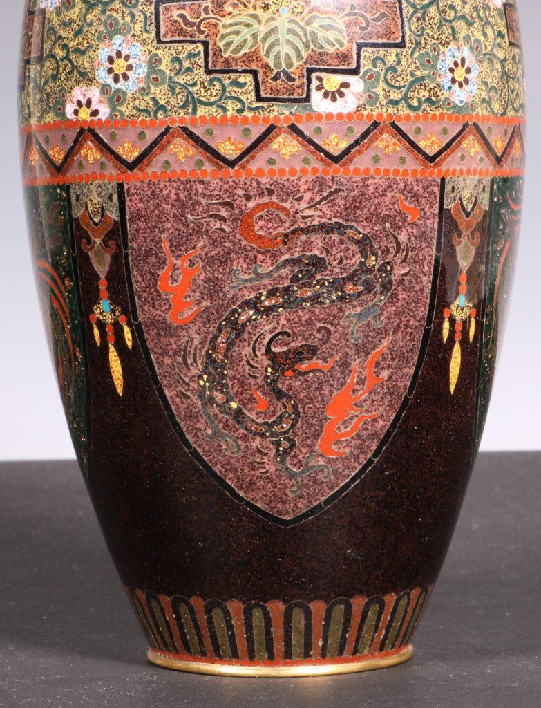 Japanese Cloisonne Vase Meiji 6