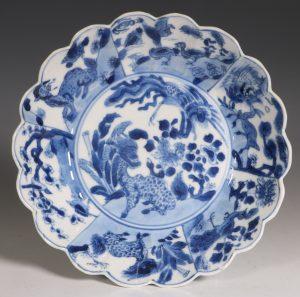 Chinese Blue and White Lobed Dish Kangxi L17thC