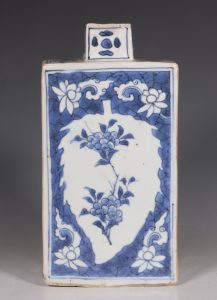 Rare Transitional Blue and White Gin Flask C1640's