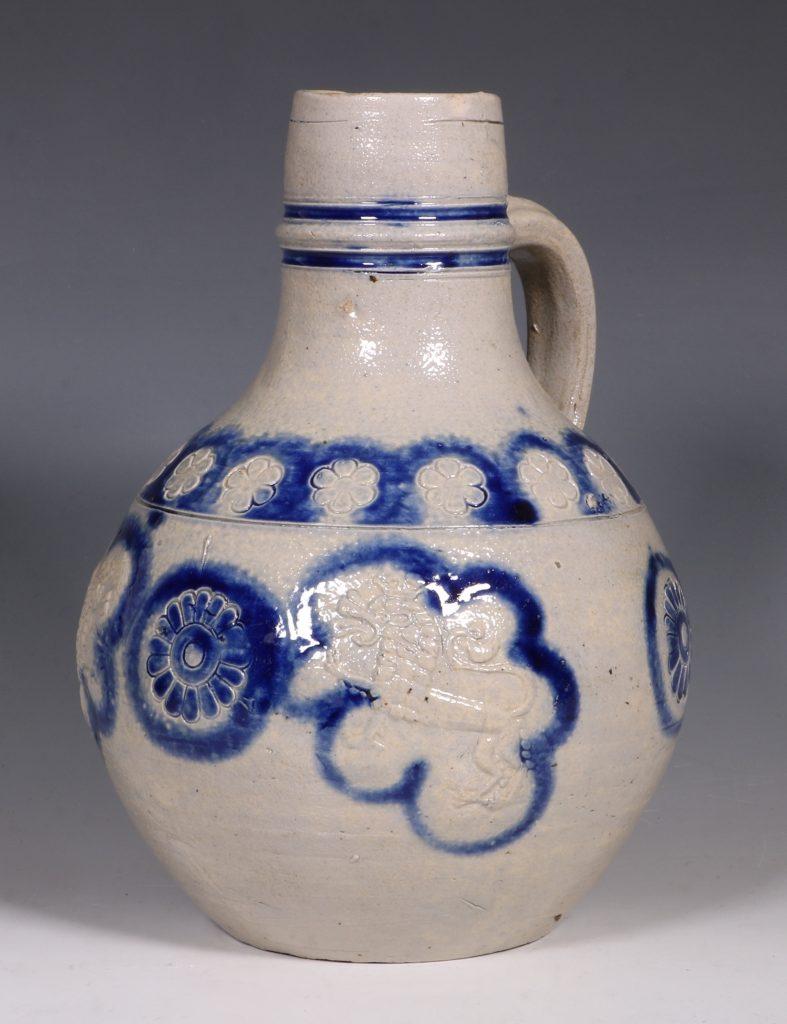A Westerwald Stoneware Bottle 17thC 1