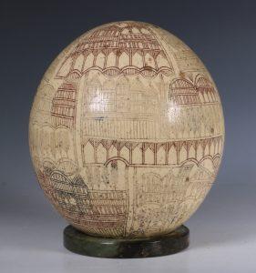 An Ottoman Engraved Ostrich Egg Turkey 18/19thC