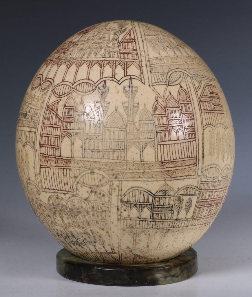An Ottoman Engraved Ostrich Egg Turkey 18/19thC 4
