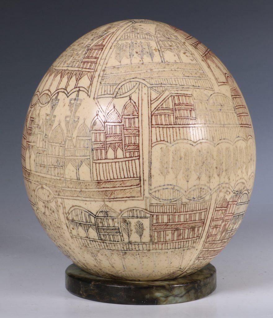 An Ottoman Engraved Ostrich Egg Turkey 18/19thC 5