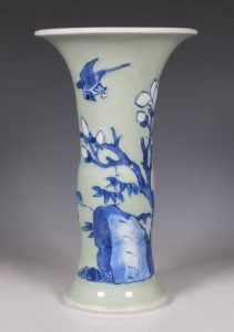 A Blue and White Celadon Ground Vase Kangxi C1700