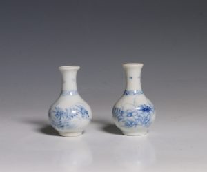 Pair of Miniature Blue and White Vases Kangxi