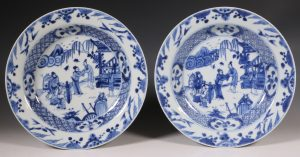 Pair of Blue and White Deep Plates Yongzheng