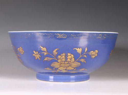 Gilt Decorated Blue Ground Bowl E18thC
