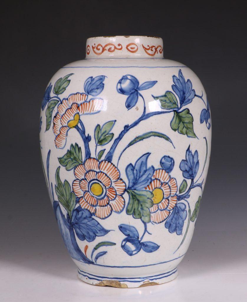 Dutch Delft Polychrome Vase 18thC