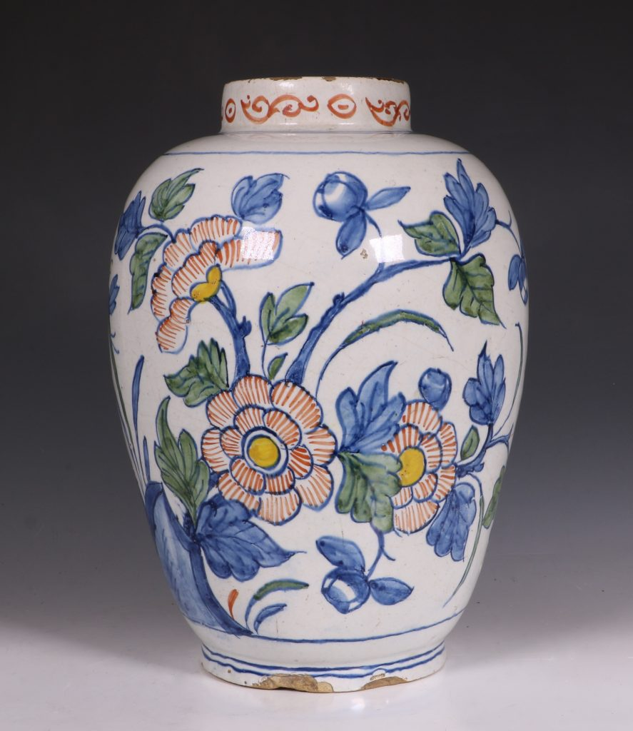 Dutch Delft Polychrome Vase 18thC 1