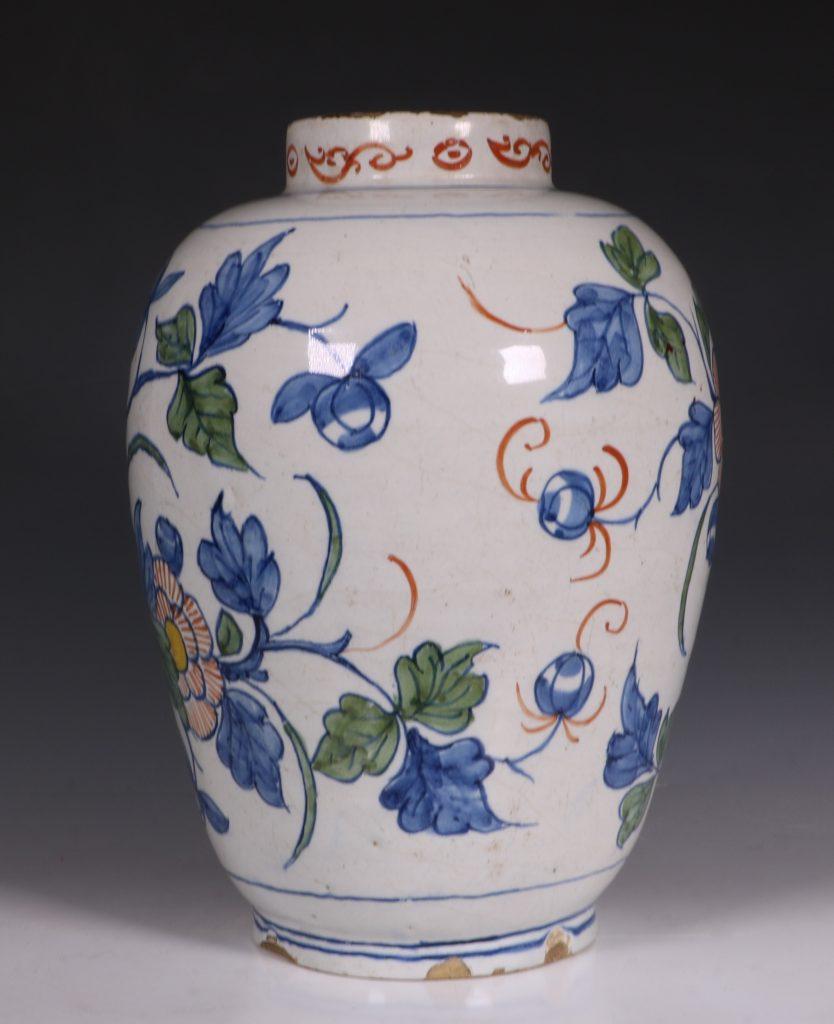 Dutch Delft Polychrome Vase 18thC 5