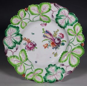 Longton Hall Strawberry Leaf Dish C1755