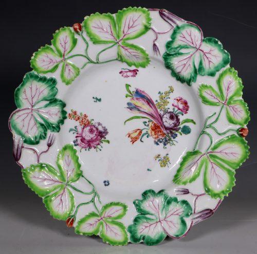 Longton Hall Strawberry Leaf Dish C1755