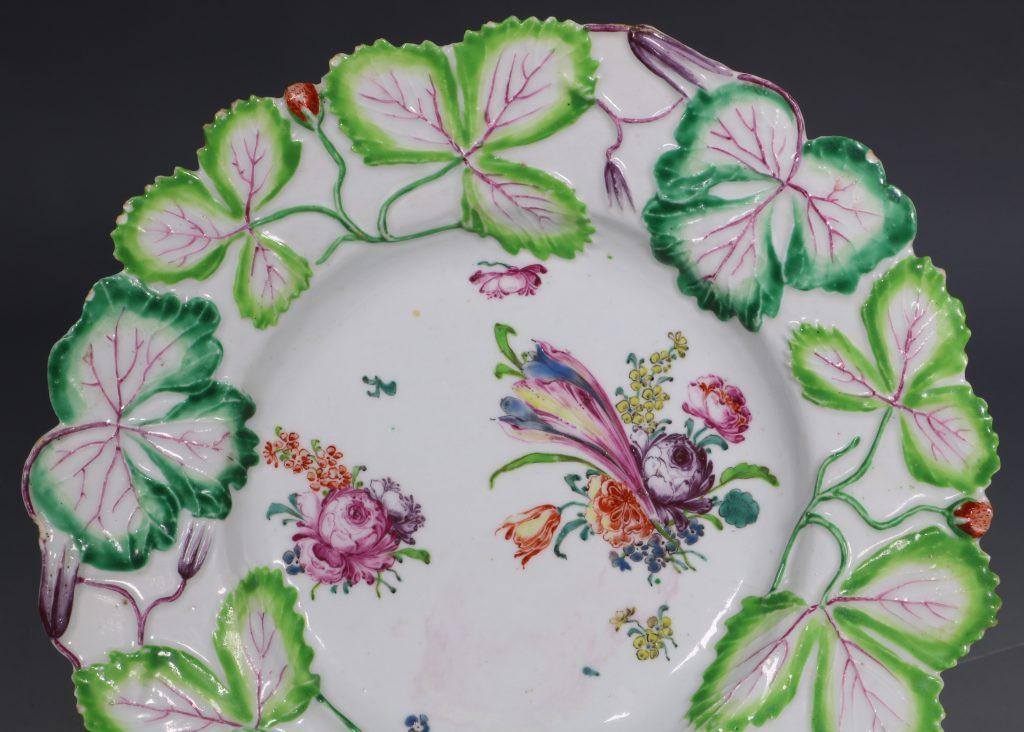 Longton Hall Strawberry Leaf Dish C1755 2