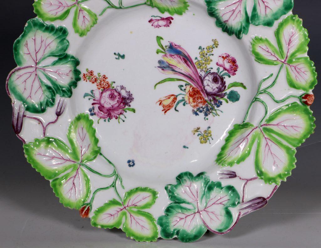 Longton Hall Strawberry Leaf Dish C1755 3