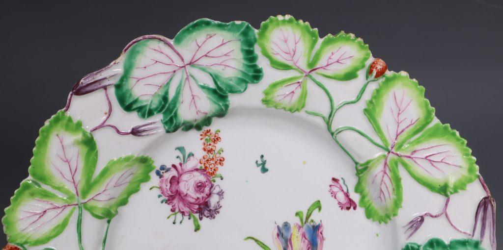 Longton Hall Strawberry Leaf Dish C1755 6