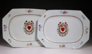 A Pair of Famille Rose Armorial Meat Plates Qianlong C1760