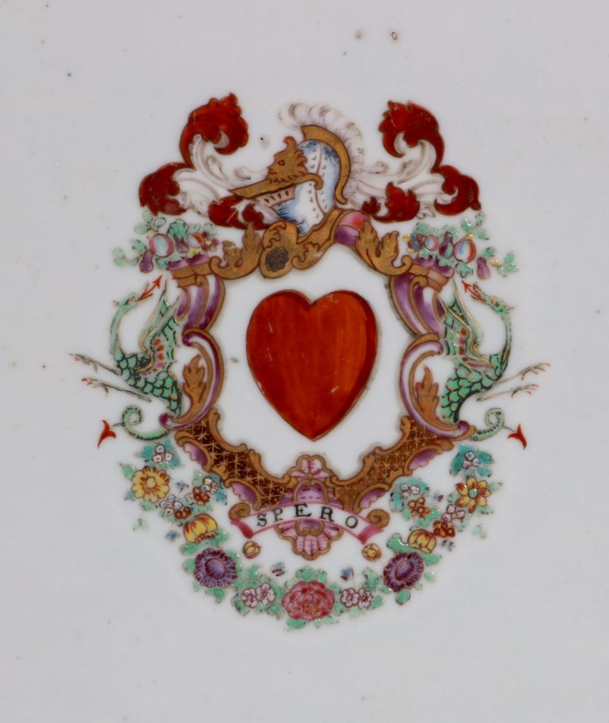 A Pair of Famille Rose Armorial Meat Plates Qianlong C1760 3