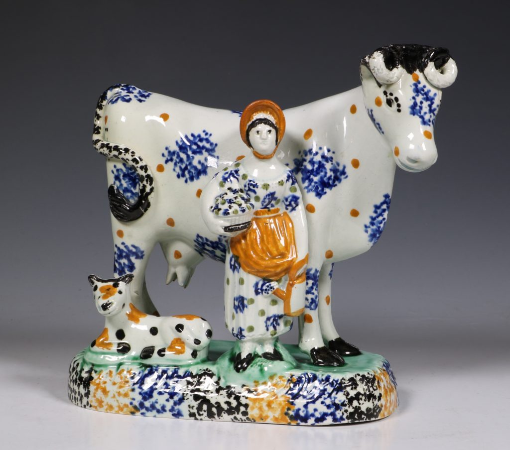 A Prattware Pearlware Cow Group C1810/20 1