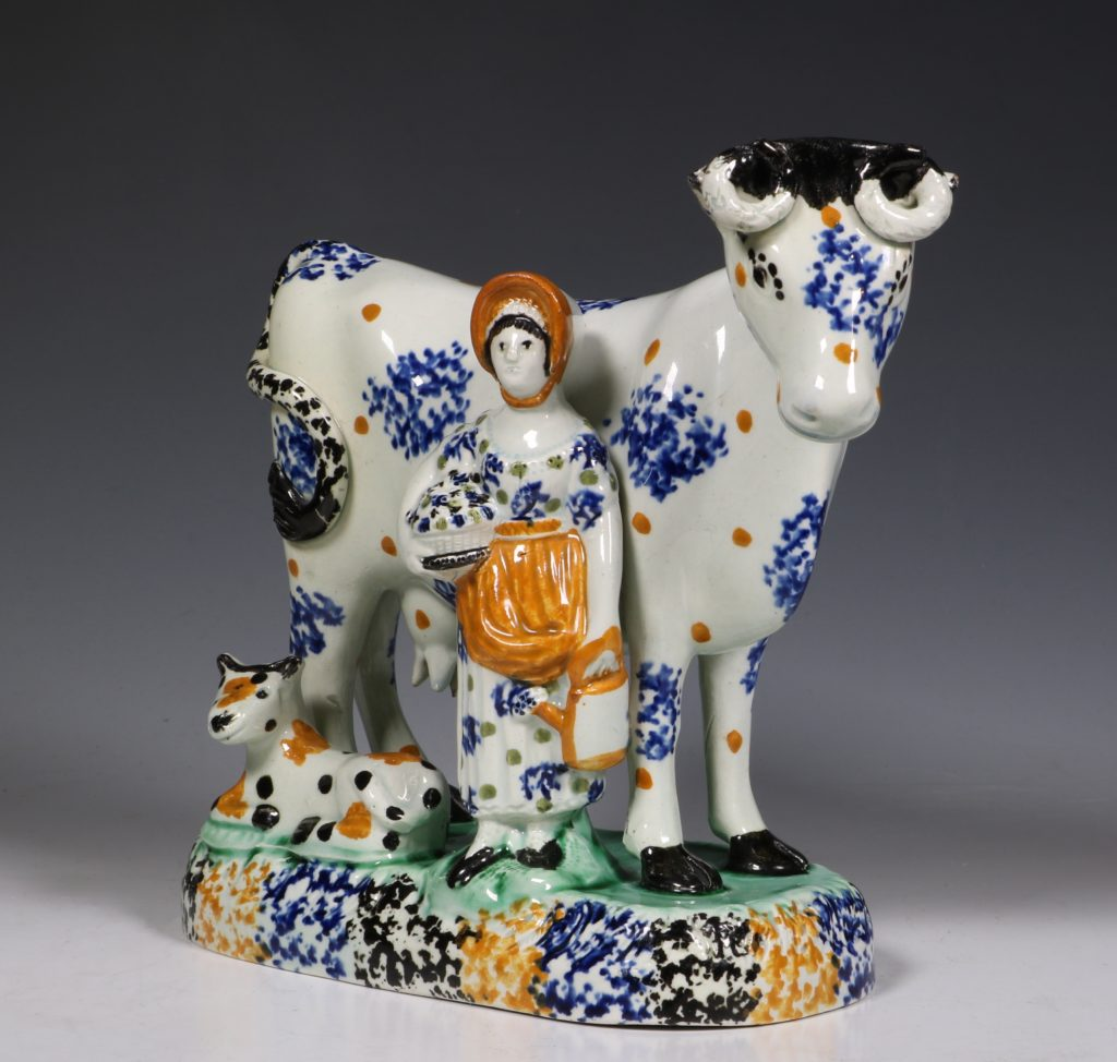 A Prattware Pearlware Cow Group C1810/20 3