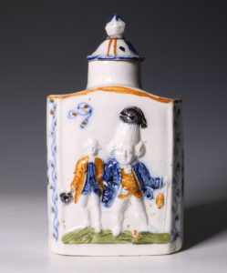 A Prattware Pearlware Macaroni Tea Caddy and Cover C1790