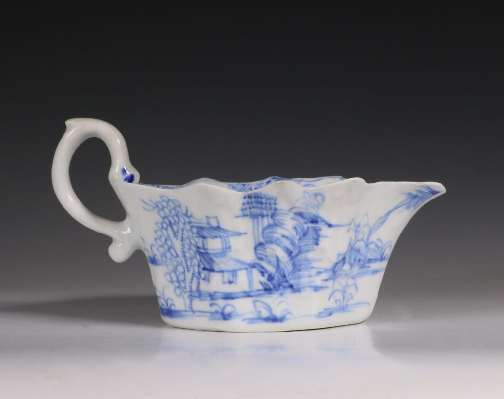 A Bow Blue and White Sauce Boat C1752/55 4