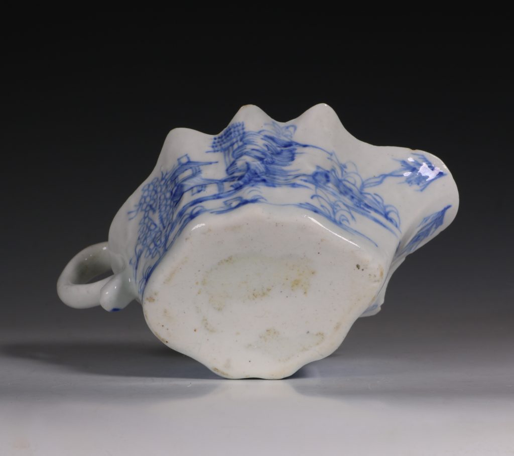 A Bow Blue and White Sauce Boat C1752/55 6
