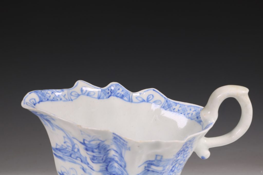 A Bow Blue and White Sauce Boat C1752/55 9