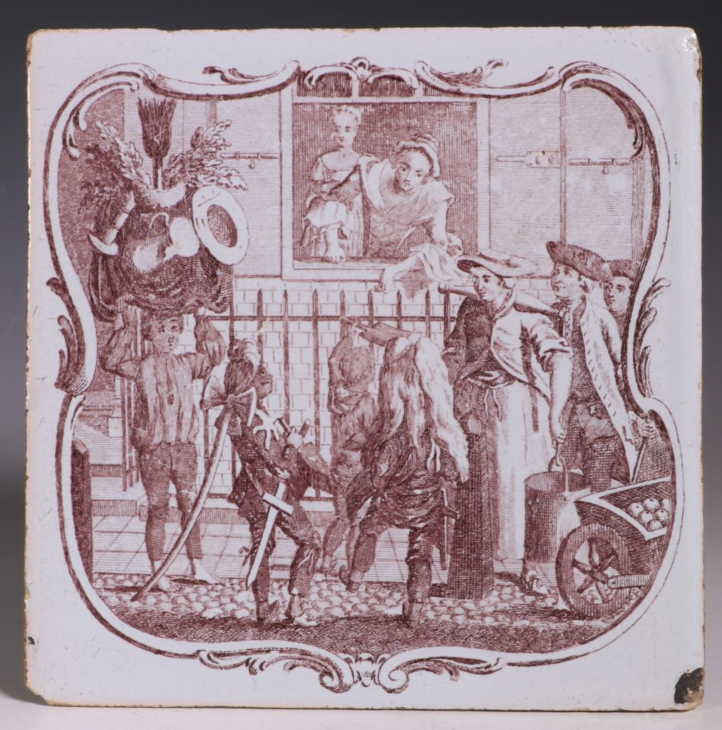 An Early Sadler Printed Delft Tile C1760